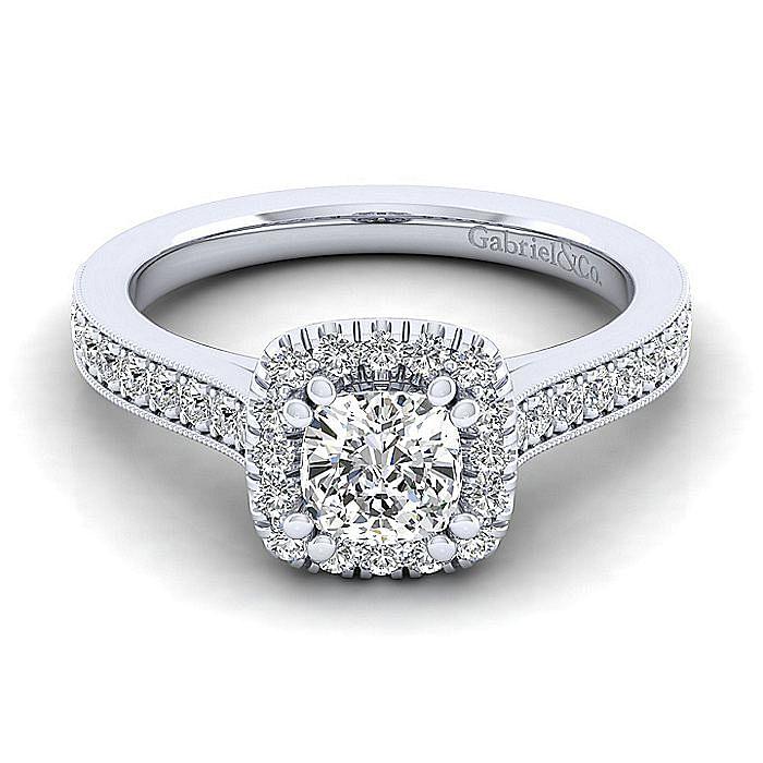 Vintage Inspired Platinum Cushion Halo Diamond Engagement Ring