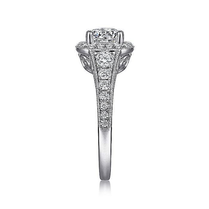 Vintage Inspired Platinum Cushion Halo Round Diamond Engagement Ring