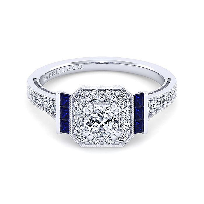 Vintage Inspired Platinum Cushion Halo Sapphire and Diamond Engagement Ring