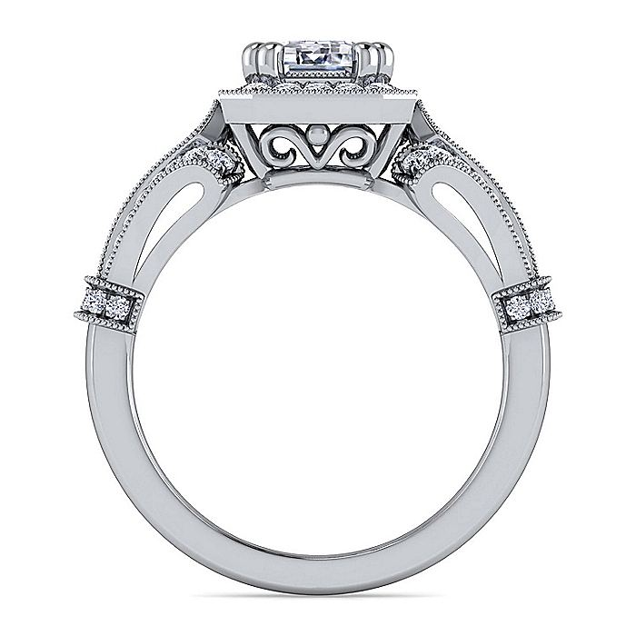 Vintage Inspired Platinum Halo Emerald Cut Diamond Engagement Ring