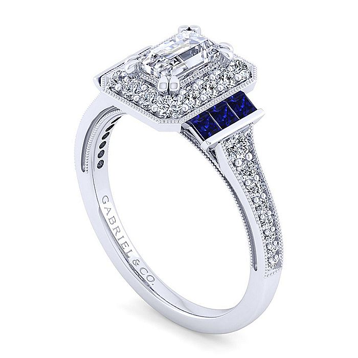 Vintage Inspired Platinum Halo Emerald Cut Sapphire and Diamond Engagement Ring