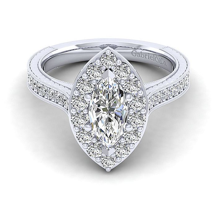 Vintage Inspired Platinum Marquise Halo Diamond Engagement Ring