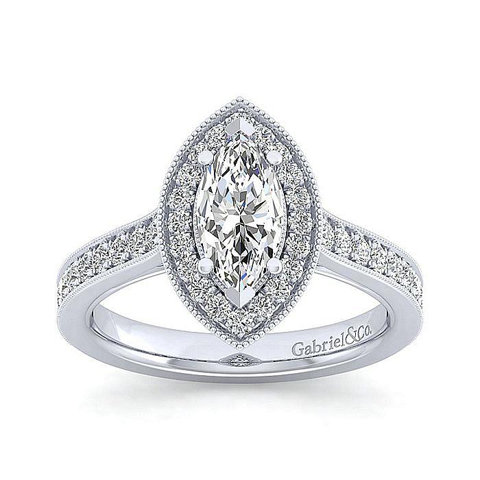 Vintage Inspired Platinum Marquise Halo Diamond Engagement Ring
