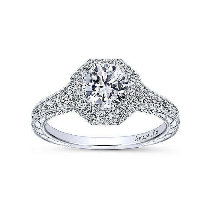 Vintage Inspired Platinum Octagonal Halo Round Diamond Engagement Ring