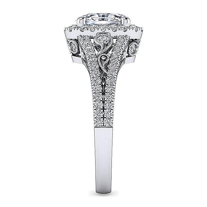 Vintage Inspired Platinum Oval Halo Diamond Engagement Ring