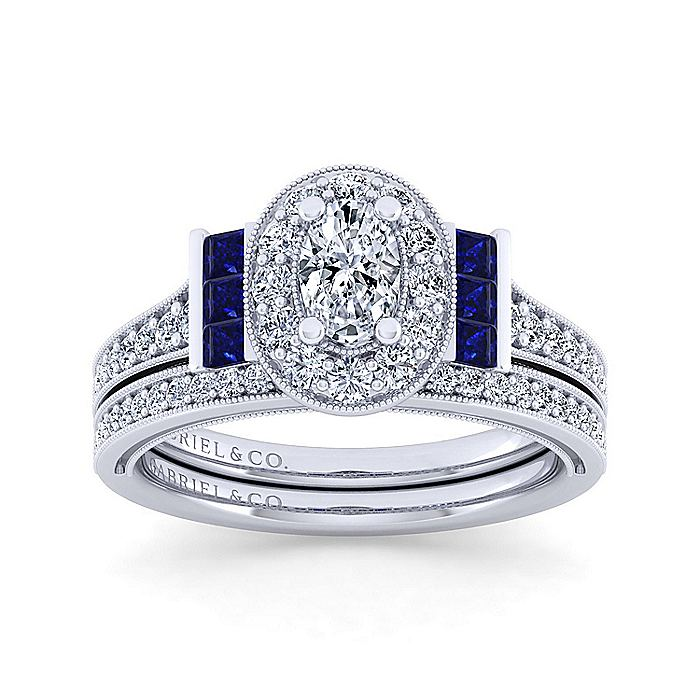 Vintage Inspired Platinum Oval Halo Sapphire and Diamond Engagement Ring