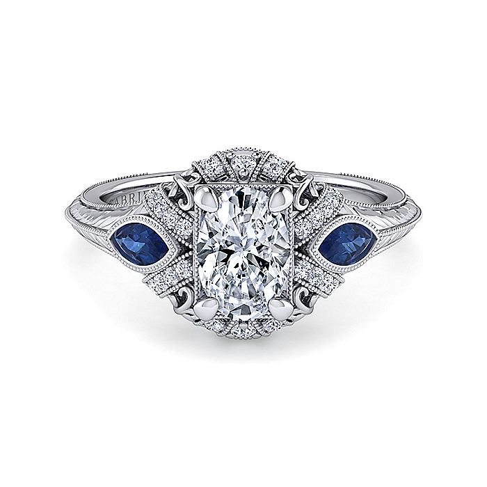 Vintage Inspired Platinum Oval Three Stone Halo Sapphire and Diamond Engagement Ring