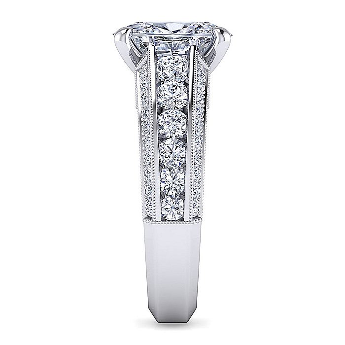 Vintage Inspired Platinum Oval Wide Band Diamond Engagement Ring