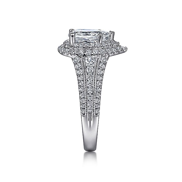 Vintage Inspired Platinum Pear Shape Double Halo Diamond Engagement Ring