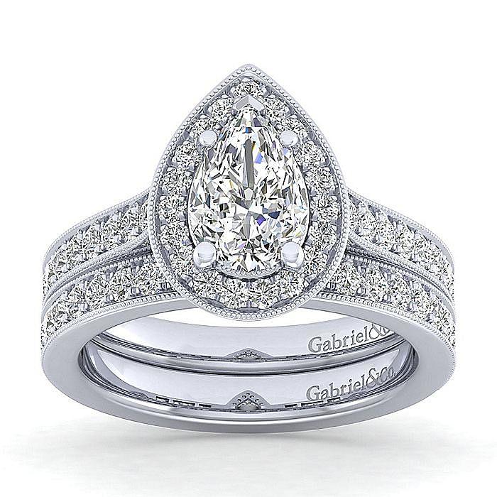 Vintage Inspired Platinum Pear Shape Halo Diamond Engagement Ring