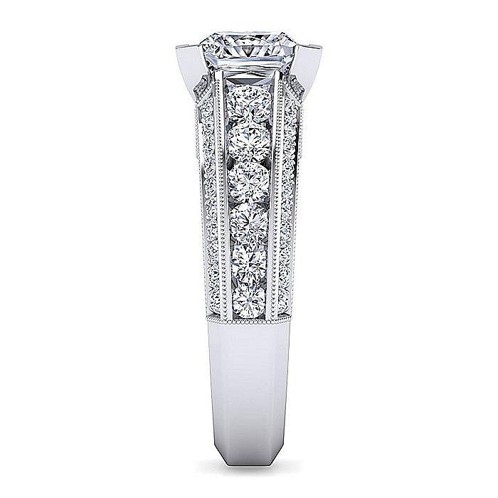 Vintage Inspired Platinum Princess Cut Wide Band Diamond Engagement Ring