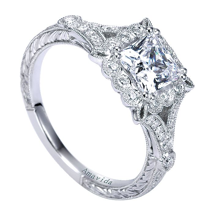 Vintage Inspired Platinum Princess Halo Diamond Engagement Ring