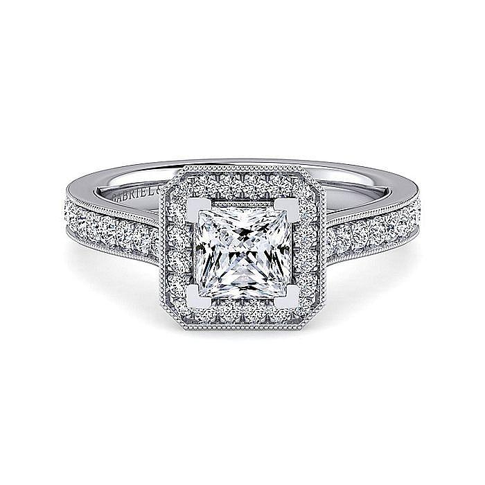 Vintage Inspired Platinum Princess Halo Diamond Engagement Ring