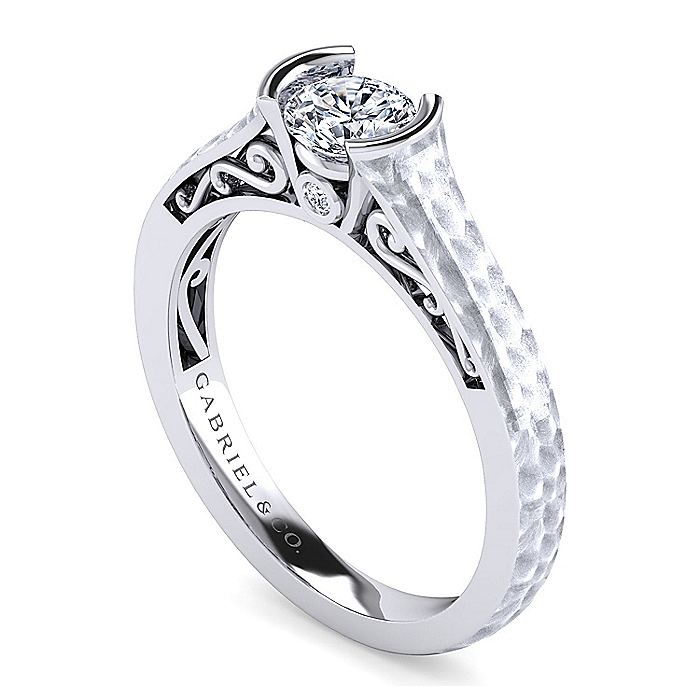 Vintage Inspired Platinum Round Diamond Engagement Ring