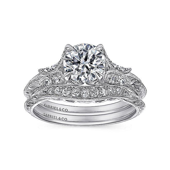 Vintage Inspired Platinum Round Split Shank Diamond Engagement Ring