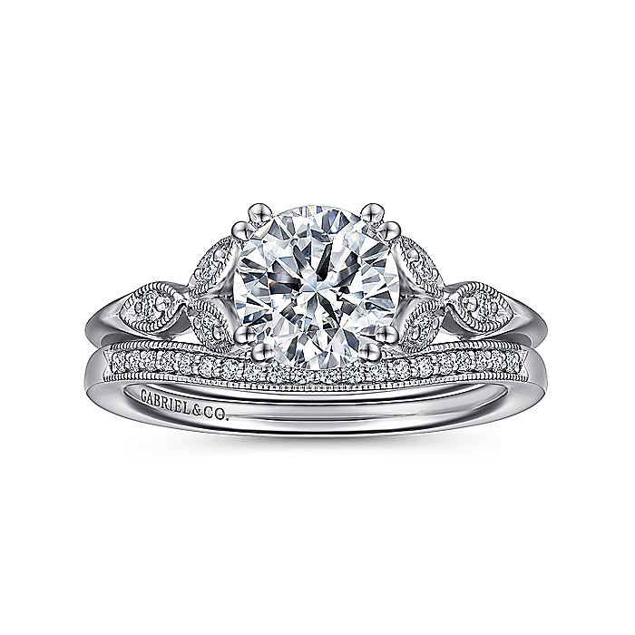 Vintage Inspired Platinum Round Split Shank Diamond Engagement Ring