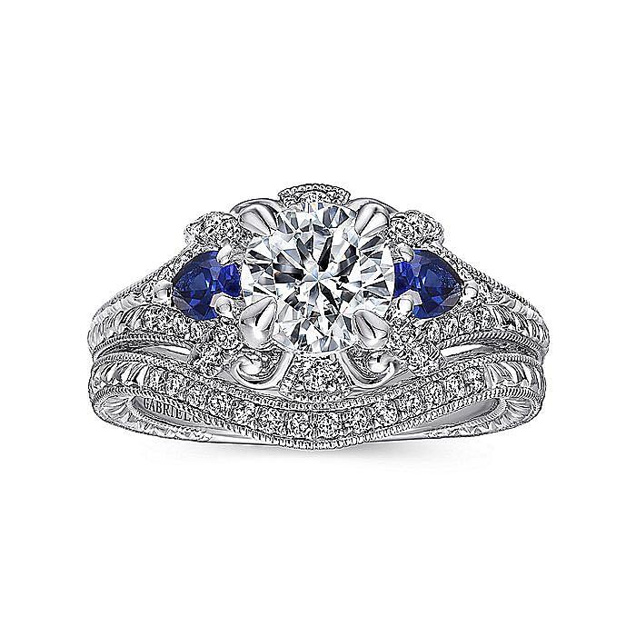 Vintage Inspired Platinum Round Three Stone Halo Sapphire and Diamond Engagement Ring