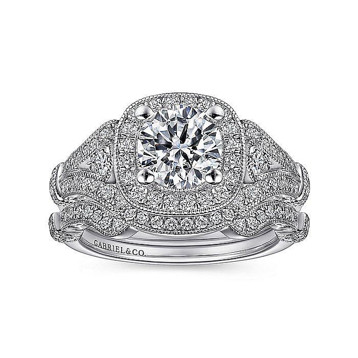 Vintage Platinum Cushion Halo Round Diamond Engagement Ring
