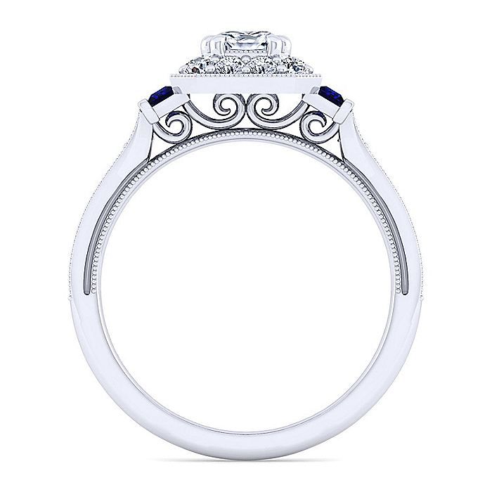 Vintage Platinum Cushion Halo Sapphire and Diamond Engagement Ring
