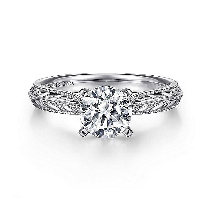 Vintage Platinum Round Diamond Engagement Ring