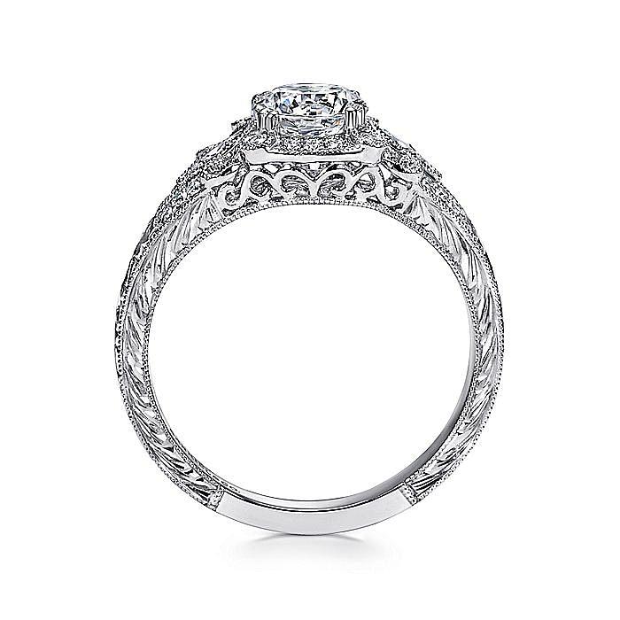 Vintage Platinum Round Halo Diamond Engagement Ring