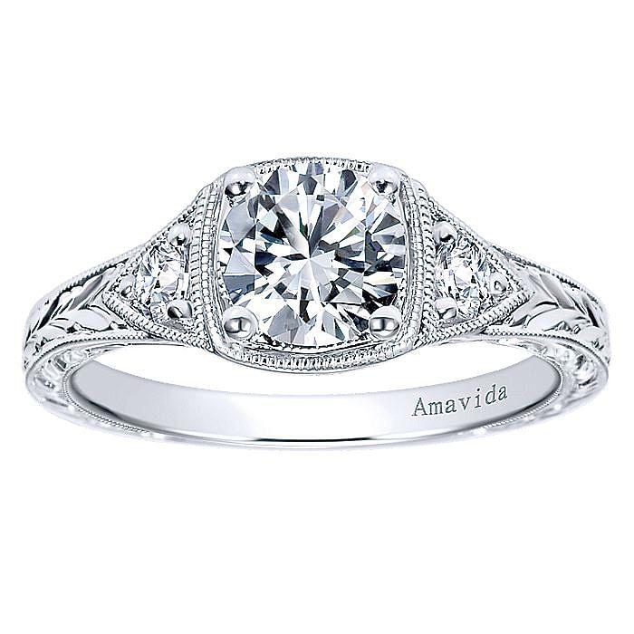 Vintage Platinum Round Three Stone Diamond Engagement Ring