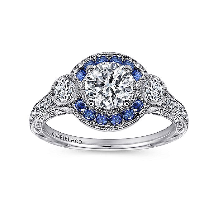 Vintage Platinum Round Three Stone Halo Sapphire and Diamond Engagement Ring
