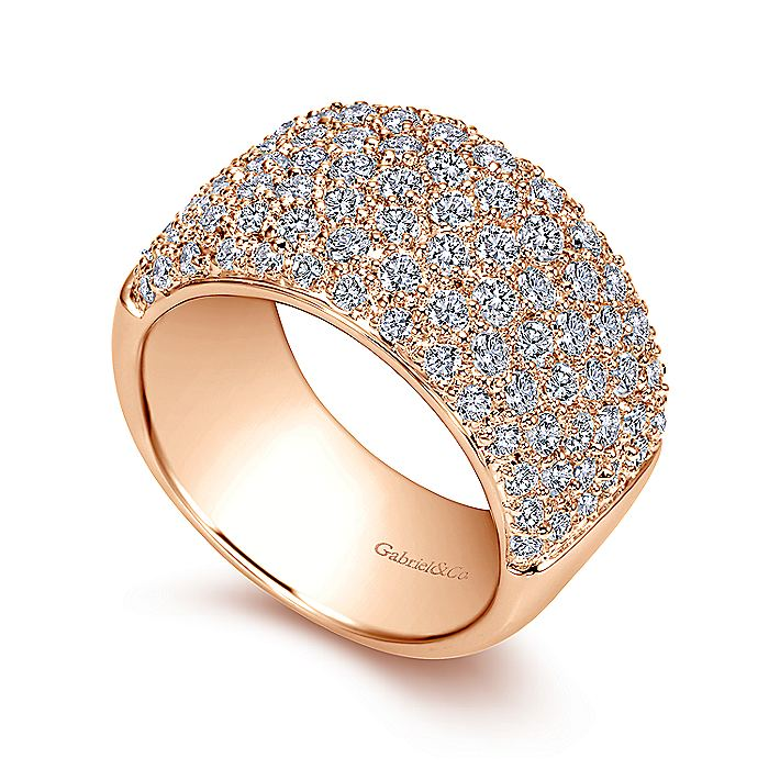 Wide 14K Rose Gold Pavé Diamond Anniversary Band
