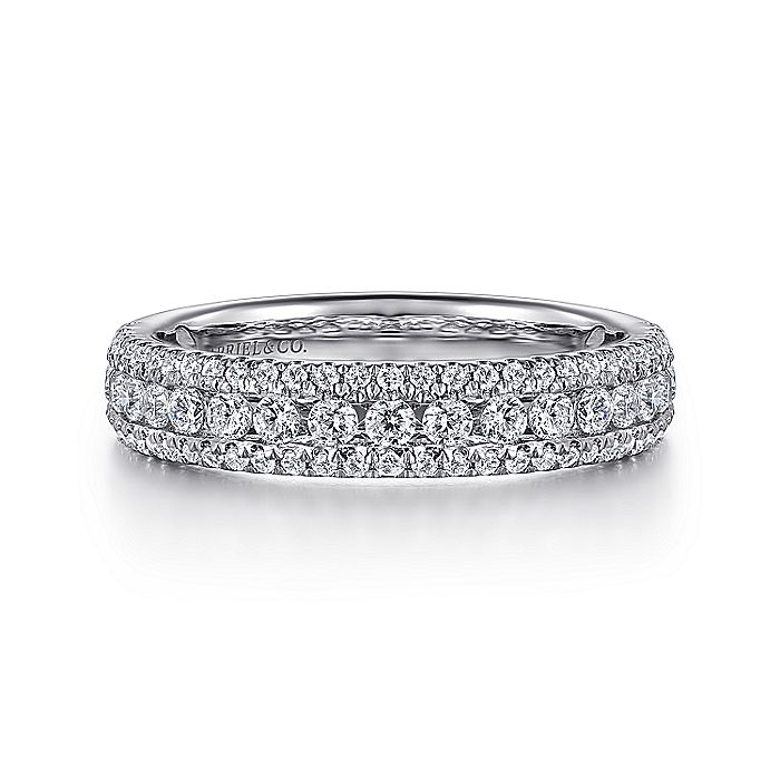 Wide 14K White Gold Diamond Anniversary Band