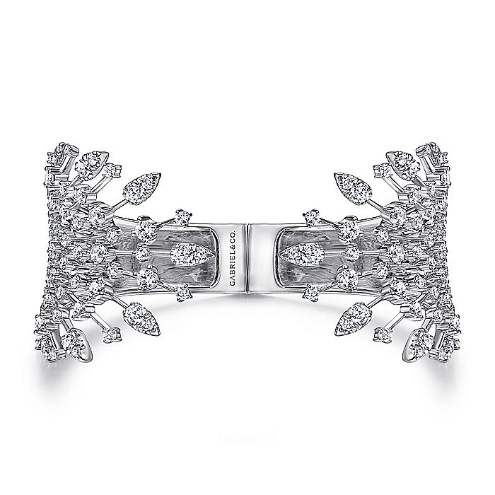 Wide 14K White Gold Diamond Burst Split Cuff Bracelet