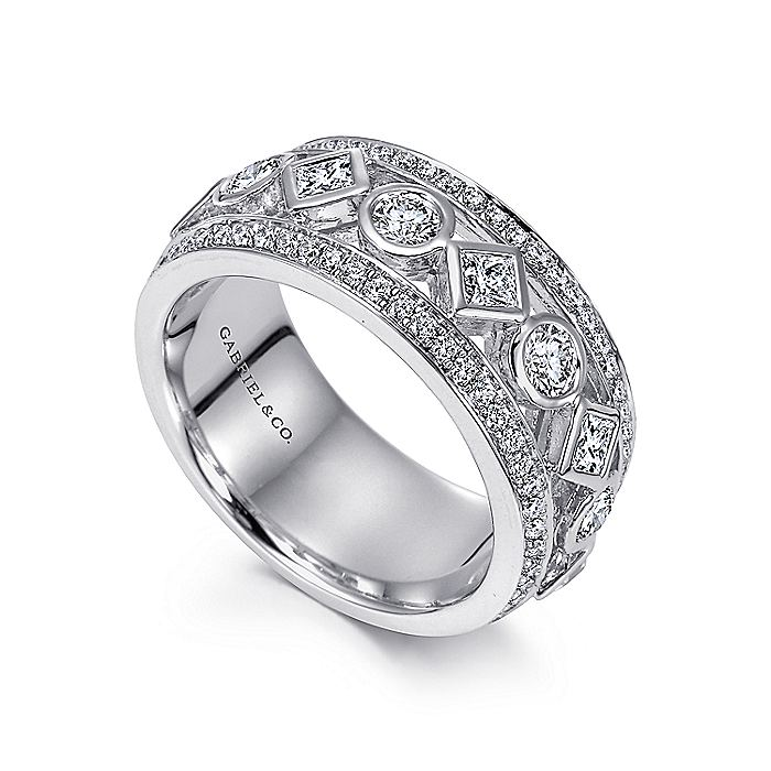 Wide 14K White Gold Geometric Diamond Anniversary Band