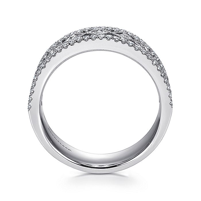 Wide 14K White Gold Geometric Pattern Diamond Anniversary Band