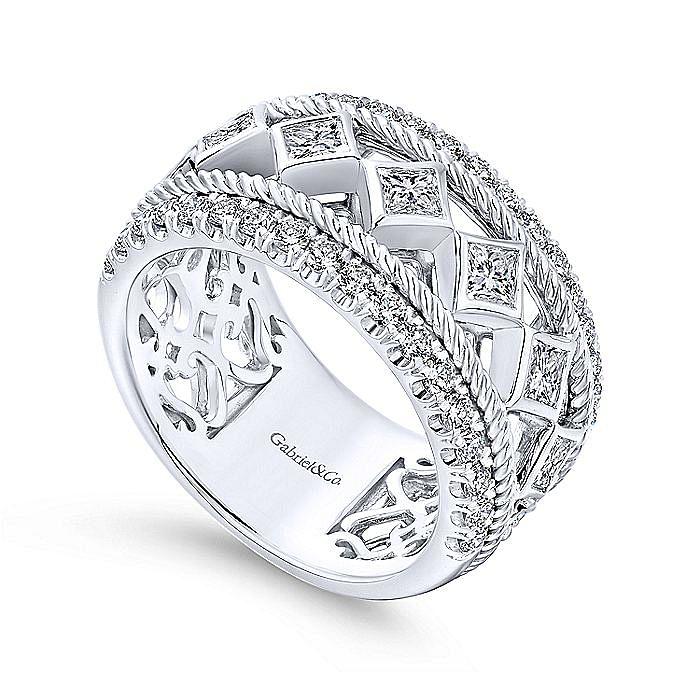 Wide 14K White Gold Princess Cut Geometric Diamond Anniversary Band