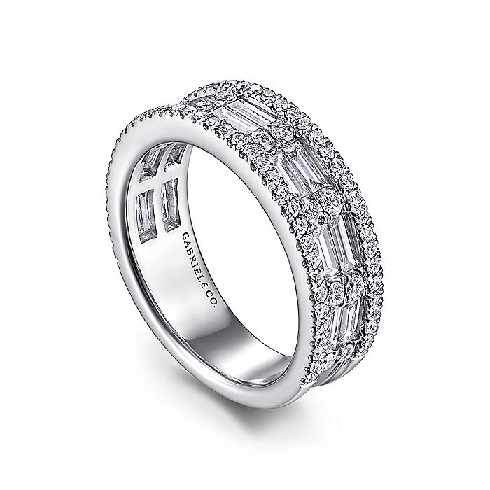 Wide 14K White Gold Round and Baguette Diamond Anniversary Band