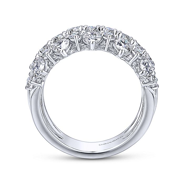 Wide 14K White Gold Round and Pear Shaped Diamond Anniversary Band