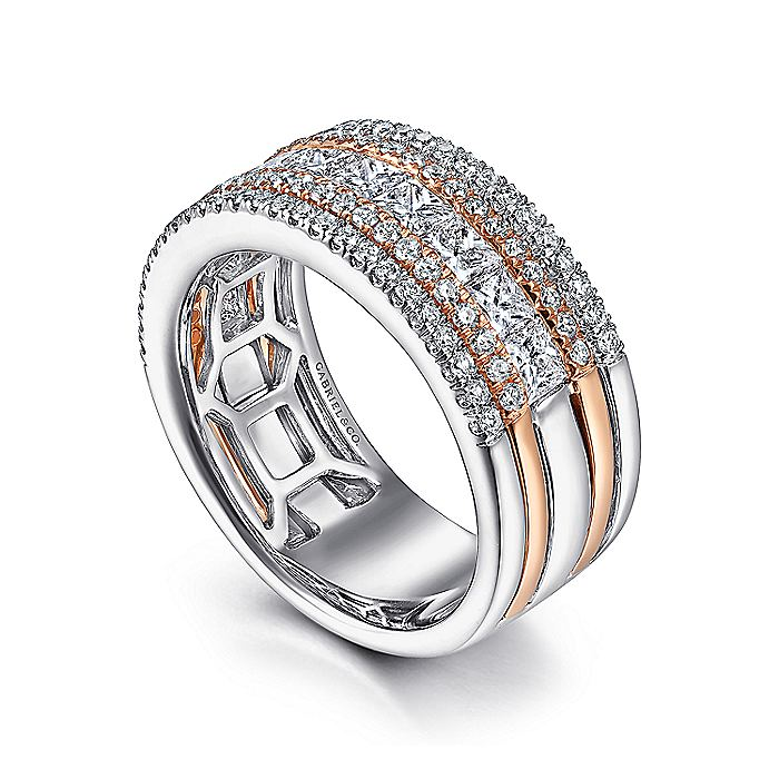 Wide 14K White-Rose Gold Anniversary Band with Round and Princess Cut Diamonds