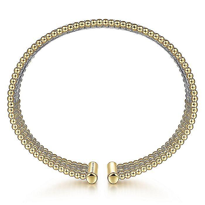 Wide 14K White-Yellow Gold Bujukan Bead Cuff Bracelet with Diamond Channels