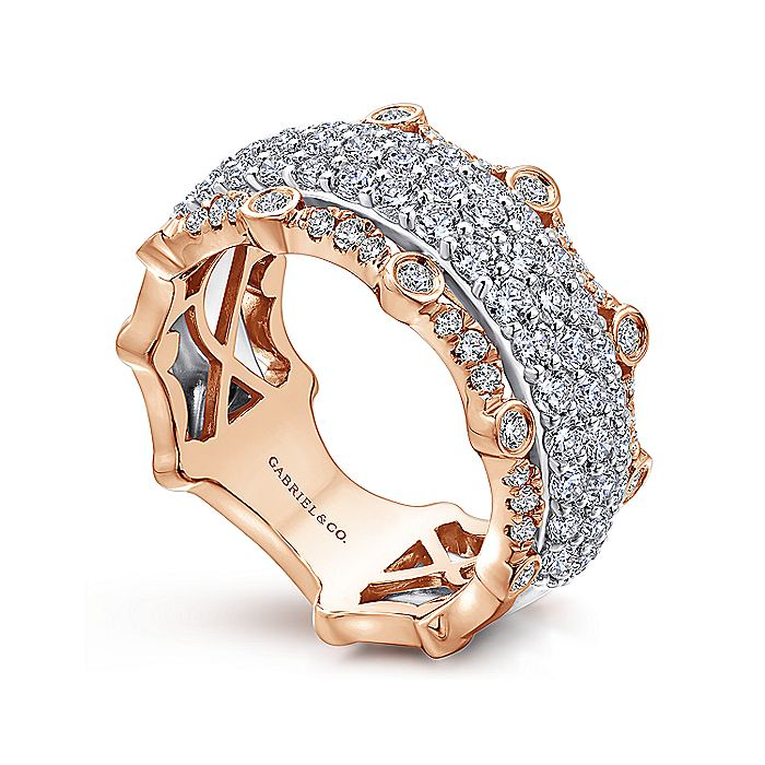Wide 14K White and Rose Gold Fancy Diamond Anniversary Band