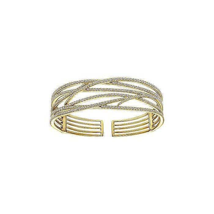 Wide 14K Yellow Gold Criss Crossing Open Diamond Bangle