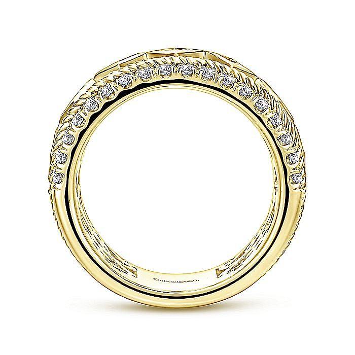 Wide 14K Yellow Gold Princess Cut Geometric Diamond Anniversary Band