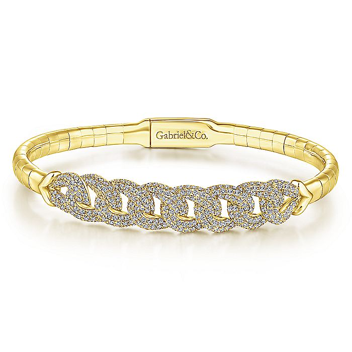 Yellow Plated 925 Sterling Silver Fashion Bangle