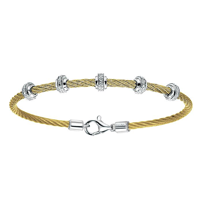 Yellow Plated Twisted Cable Stainless Steel Bangle with Sterling Silver and Diamond Rondelle Stations