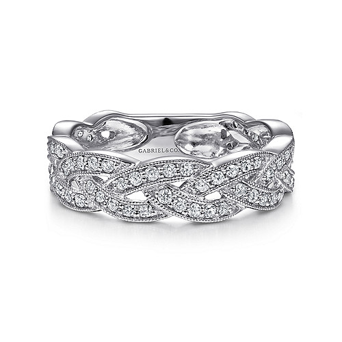95edfb1fc83aa 14K White Gold Braided Diamond Stackable Ring - LR5673W45JJ