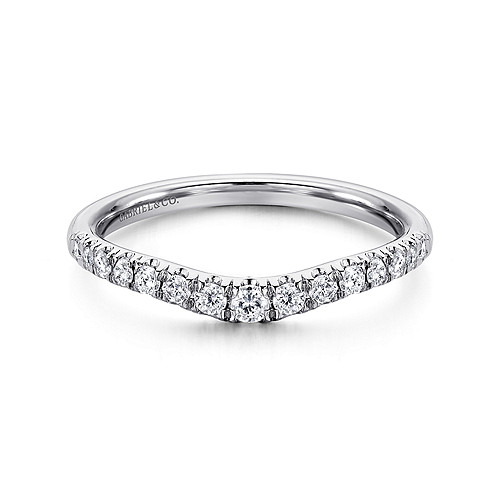 14k White Gold Curved French Pave Diamond Wedding Band An11013w44jj