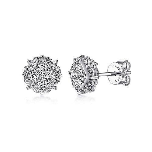 Gabriel - 14K White Gold Diamond Stud Earrings