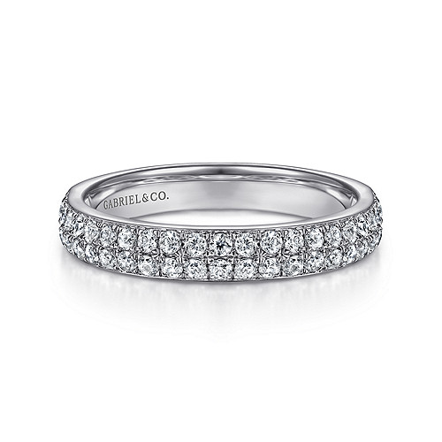 1e5948004ef7e0 14K White Gold Double Rows Contemporary Micro Pavé Straight Diamond Band