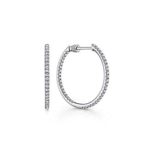 ff3aec1f23afc 14K White Gold French Pave 20mm Round Inside Out Diamond Hoop Earrings -  EG13460W45JJ