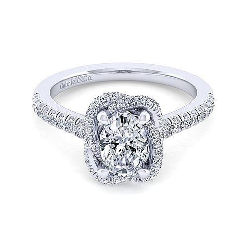07193789706b5 14K White Gold Oval Halo Diamond Engagement Ring - ER14412O4W44JJ