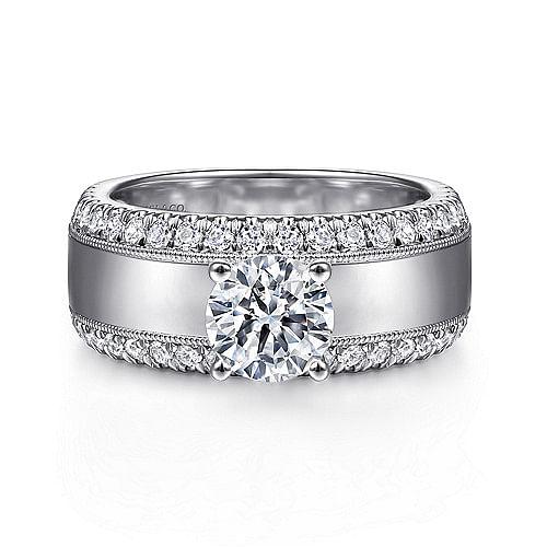 8f36218b81e7c 14K White Gold Round Diamond Wide Band Engagement Ring - ER14611R4W44JJ