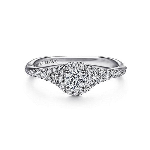 14K White Gold Round Halo Diamond Engagement Ring - ER11925R1W44JJ